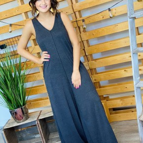 The Wide Leg Jumpsuit in Charcoal