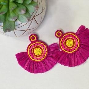 The Golden Pink Raffia Earrings