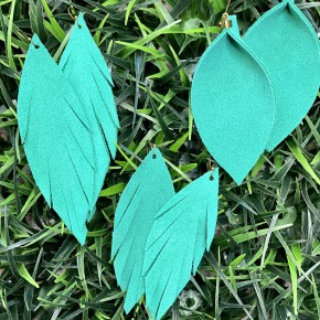 Kelly Green Suede Leather Earrings