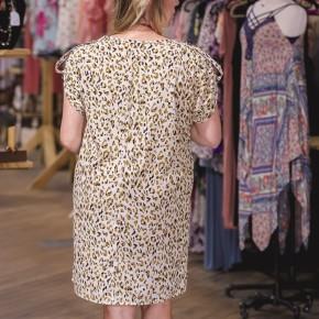 Leopard Tab Sleeve Woven Dress