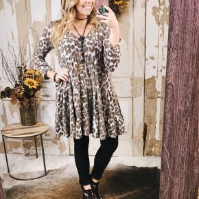 Cheetah Ruffle Dress w/ Buttons