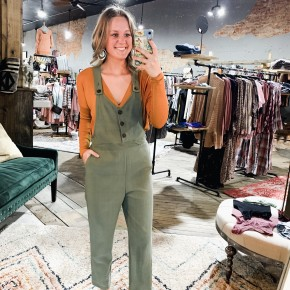 Olive Overalls w Button Details