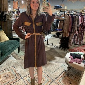 Two Tone Brown Belted Dress