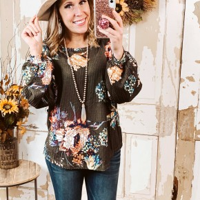 Olive Floral Balloon Sleeve Top