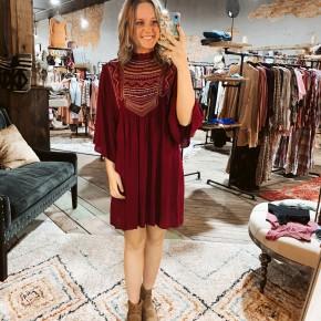 Wine Dress w/ Embroidery