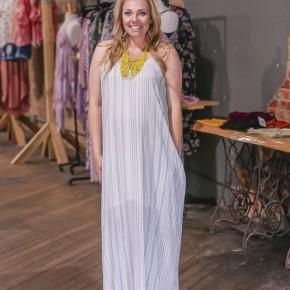 Sage Striped Maxi Dress