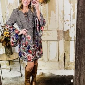 Plaid Floral Dress