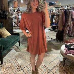 Back Zipper Dress - Rust