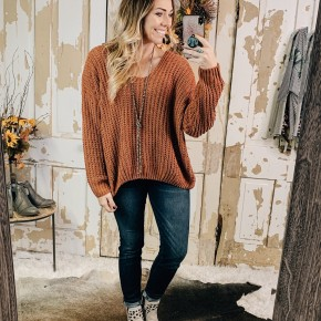 Soft Knit Sweater - Rust