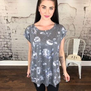 SHADOWBOX FLORAL BACK OVERLAY TOP