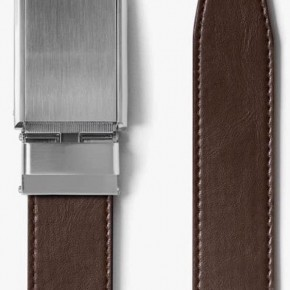 """SLIDEBELTS BRAND"" - RATCHETING DESIGN - CLASSIC MOCHA BELT W/ SILVER BUCKLE"