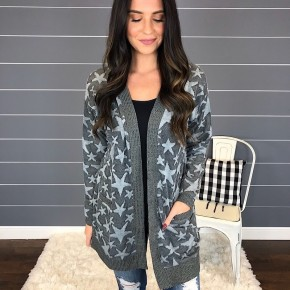 STAR PATTERN KNIT CARDIGAN