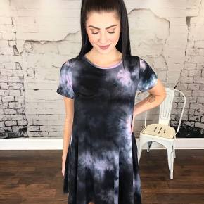 TIE DYE HIGH-LOW SHIFT DRESS W/ POCKETS