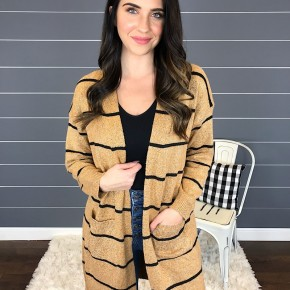 STRIPED OPEN FRONT SWEATER CARDIGAN