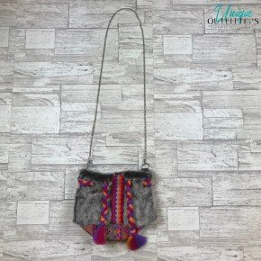 FROST GRAY FAUX FUR BUCKET BAG