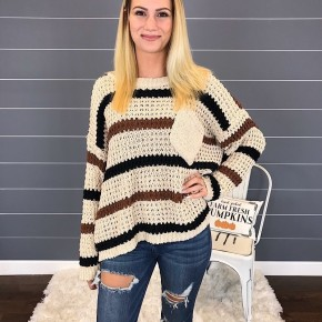 RELAXED STRIPE SWEATER W/ FRONT POCKET