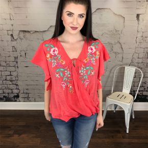FLORAL EMBROIDERED V-NECK RUFFLE SLEEVE TOP