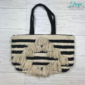 DIAMOND FRINGED STRIPED TOTE BAG