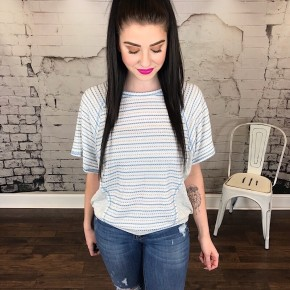 STRIPED BOAT NECK FABRIC MIX DOLMAN TOP