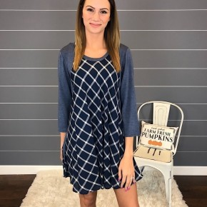 PLAID TUNIC TOP W/ 3/4 SLEEVE *Final Sale*