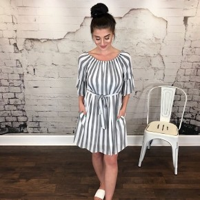 STRIPED OFF-SHOULDER DRESS W/ TIE WAIST *Final Sale*