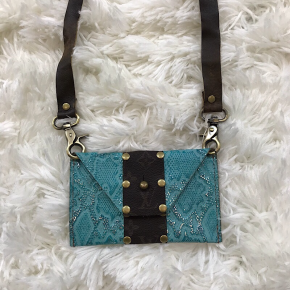 KEEP IT GYPSY UPCYCLED LV BAG -  THE SHEILA CROSSBODY - AQUA
