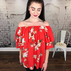 FLORAL PRINT LAYERED RUFFLE OFF SHOULDER TOP