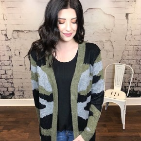 CAMO KNITTED SWEATER CARDIGAN