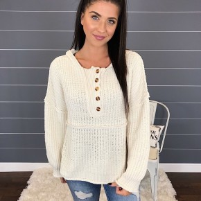 CHENILLE BUTTON UP HOODIE SWEATER