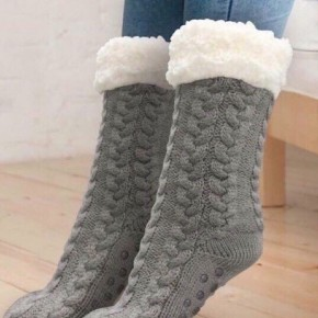 SHERPA LINED CABLE KNIT SLIPPER SOCKS