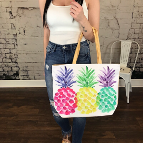 PINEAPPLE PRINTED BEACH BAG