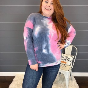 TIE DYE FRENCH TERRY KNIT TOP W/ DROP SHOULDER SLEEVE