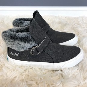 BLOWFISH - HIGH TOP CANVAS SNEAKER WITH FAUX FUR ACCENT