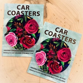 """COASTERS ON THE GO - """"NAVY & PINK FLORALS"""""""