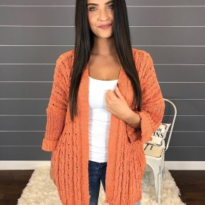 3/4 FOLDED SLEEVE OPEN FRONT CABLE KNIT CARDIGAN