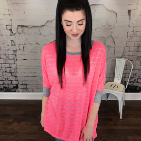 SLUB STRIPE 3/4 SLEEVE TOP