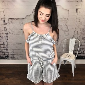 RUFFLED STRIPED SHORT ROMPER