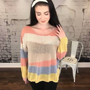 MULTI COLOR STRIPED PULLOVER SWEATER
