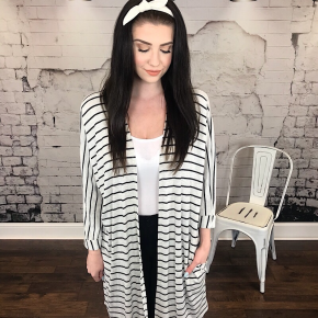 STRIPED THERMAL CARDIGAN