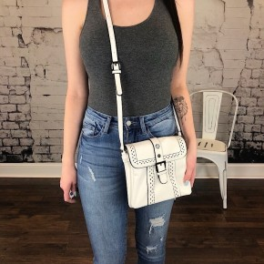 PERFORATED CROSS-BODY BAG WITH BUCKLE DECOR