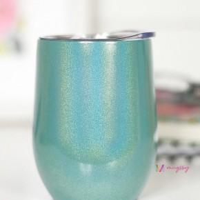 WINE CUP - GREEN RAINBOW GLITTER