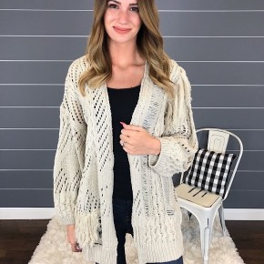 DISTRESSED KNITTED SWEATER CARDIGAN