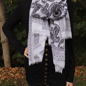 PAISLEY SCARF -  FRAYED EDGE