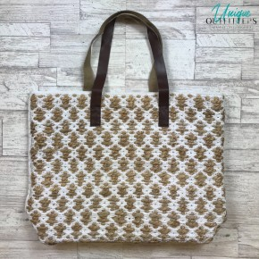 NATURAL JACQUARD TOTE W/ LEATHER HANDLES