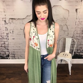 EMBROIDERED FABRIC MIX LONG SLEEVELESS CARDIGAN