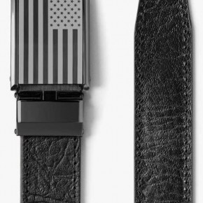 """SLIDEBELTS BRAND"" - RATCHETING DESIGN - GENUINE LEATHER BLACK BELT - FLAG GUNMETAL BUCKLE"