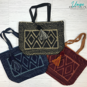 HAND LOOMED TRIPLE DIAMOND TOTE W/ SUEDE HANDLES