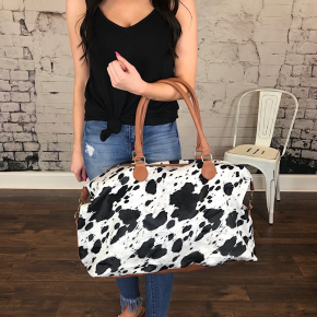 BLACK & WHITE FAUX COWHIDE WEEKENDER