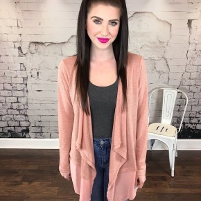 BACK LACE UP MIXED FABRIC CARDIGAN