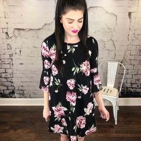 FLORAL PRINT DRESS W/ 3/4 BELL SLEEVES